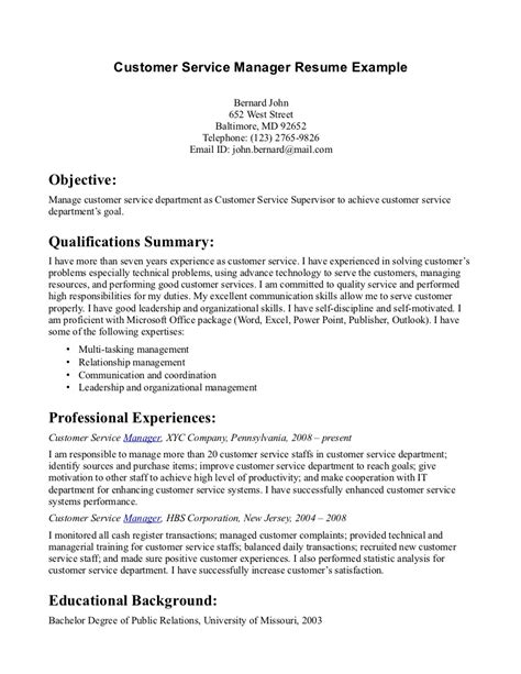 customer service manager resume objective sle resume exles customer service 2018 resume exles 2018