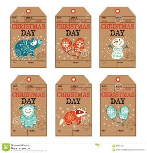 new year label vector and new year gift tags stickers labels stock