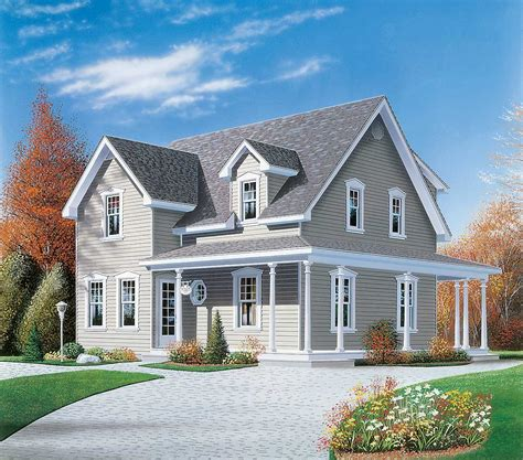 narrow lot country home plan 2199dr country farmhouse