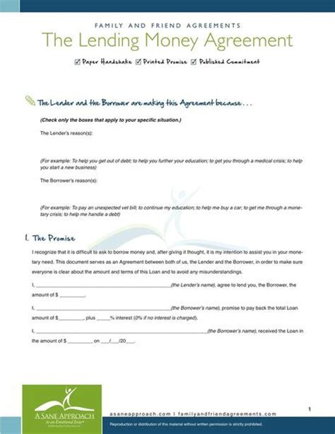 lending money agreement pdf by a sane approach family and friend agreements a sane approach