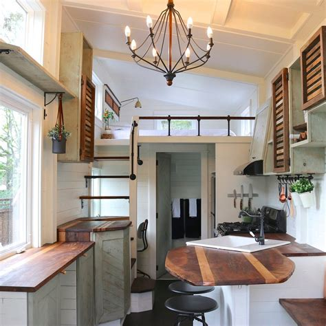 tiny home decor tiny farmhouse with loft bedroom popsugar home