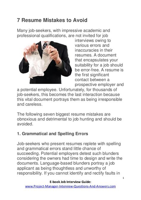 7 Resume Mistakes by 7 Resume Mistakes To Avoid Www Project Manager