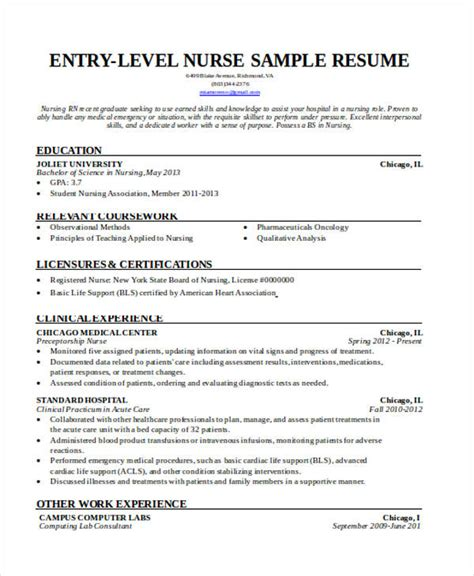 Entry Level Nursing Resume by 36 Resume Format Free Word Pdf Documents