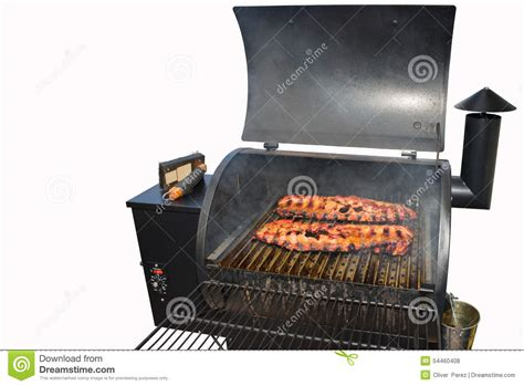 rack of barbeque ribs on the grill stock photo image