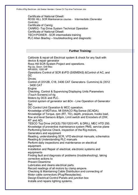 Sle Resume For Rig Electrician Rig Electrician Resume Electrician Resume Exles