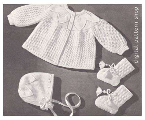 leaf pattern baby cardigan vintage baby knitting pattern sweater bonnet booties leaf