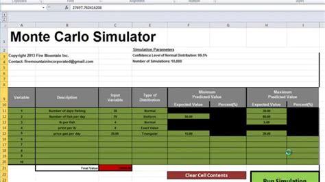 Monte Carlo Excel Template by Excel Monte Carlo Simulator