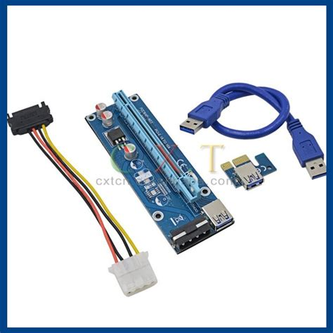 New Pcie Riser 1x To 16x Mining Vga Connector Set pcie pci e pci express riser card 1x to 16x usb 3 0 data cable sata to 4pin ide molex power