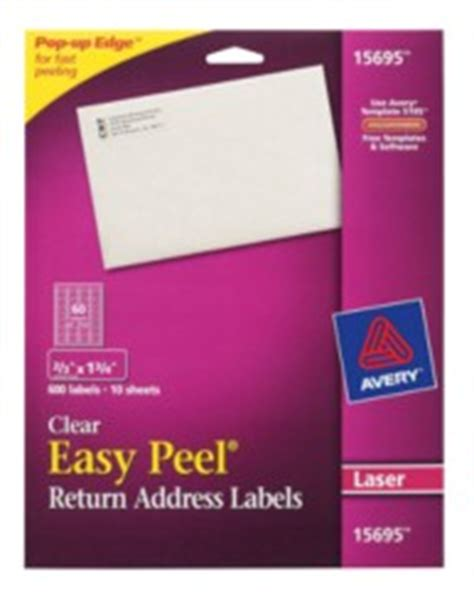Avery Template 15695 by Easy Peel Clear Return Address Labels 15695