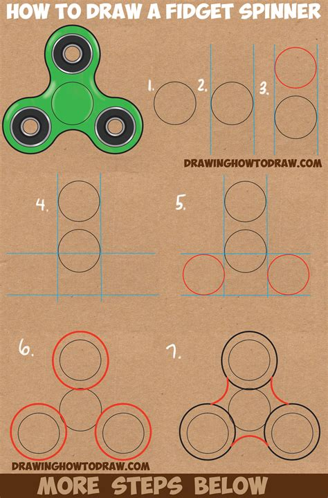 how to draw a step by step easy how to draw a fidget spinner easy step by step drawing tutorial for and beginners