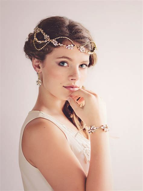 Bridal Headpieces by Custom Couture Gatsby Bridal Headpiece Tiara Gold