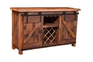 Barnwood Cabinet Sliding Barn Door Wine Server
