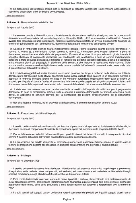 testo unico delle accise testo unico accise 17 rimborso accise gasolio