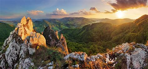 nature mountain rock landscape sunset hill wallpapers