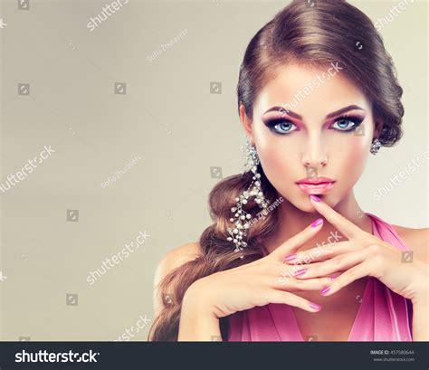 beautiful model with elegant hairstyle stock photo beautiful model girl elegant hairstyle woman stock photo