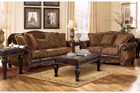 ashley durablend antique sofa ashley fresco durablend antique sofa and loveseat 6310038