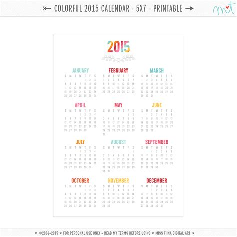 printable calendar 2015 5 x 7 2016 calendar printable 5x7 calendar template 2016