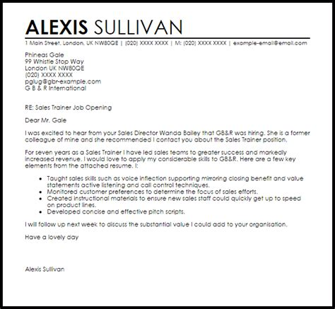 Sales Trainer Cover Letter Sample   LiveCareer