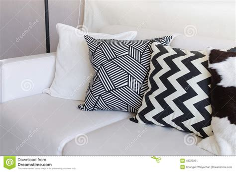 Black And White Sofa Pillows Black And White Pillows On Sofa In Living Room At Home Stock Image Image 48329251