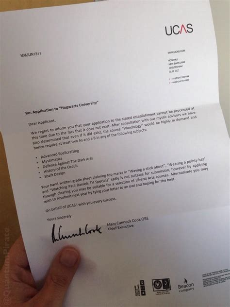 Confirmation Letter Ucas what the ucas hogwarts harry potter letter might for