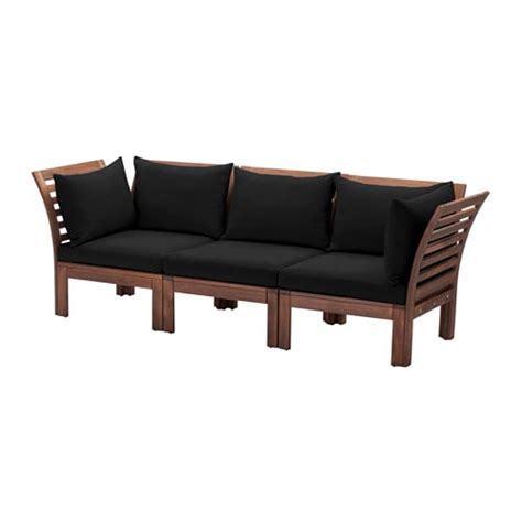 ikea hallo 196 pplar 214 h 197 ll 214 3 seat sofa outdoor brown stained black