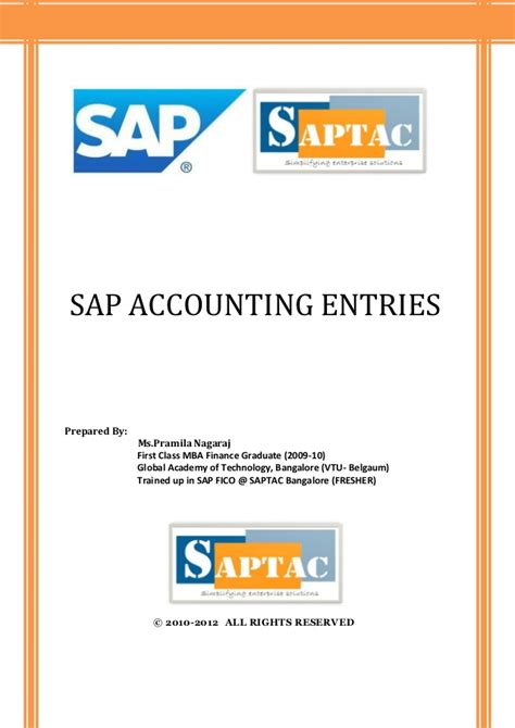 Sap Course For Finance Mba by Sap Accounting Entries