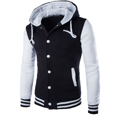 varsity jacket layout new hooded baseball jacket men 2016 fashion design black