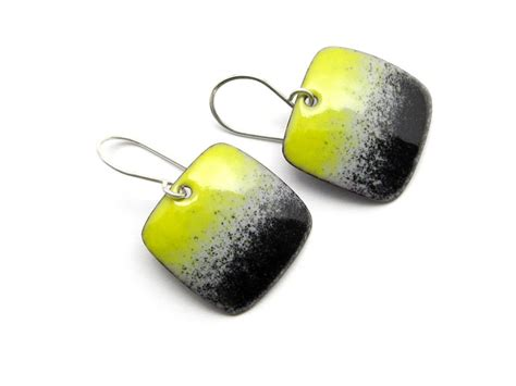 Handmade Enamel Jewelry - handmade yellow and black earrings modern enamel jewelry