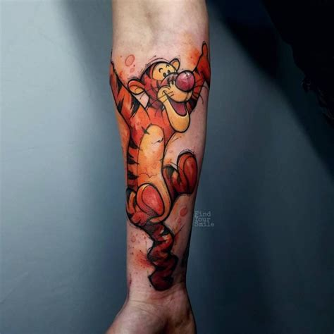 tigger tattoo tigger on arm watercolor best ideas gallery