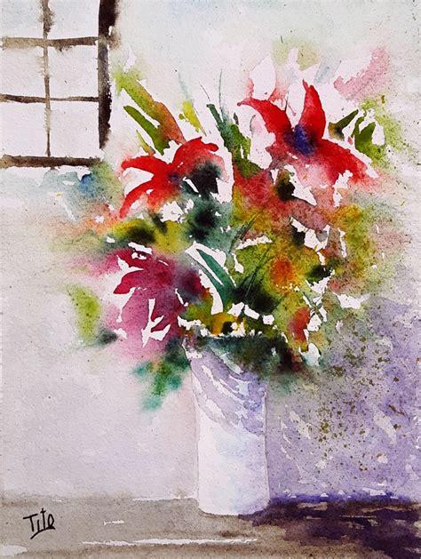 pitture di fiori vaso di fiori fiori flowers