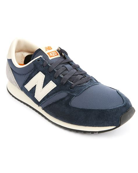 new balance 420 sneakers new balance navy suede and mesh 420 sneakers in blue for