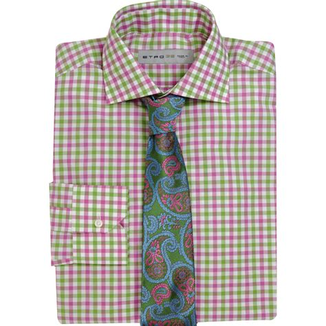 T2b A List Etro Check Shirt Dress by Etro Gingham Check Dress Shirt In Pink For Lyst