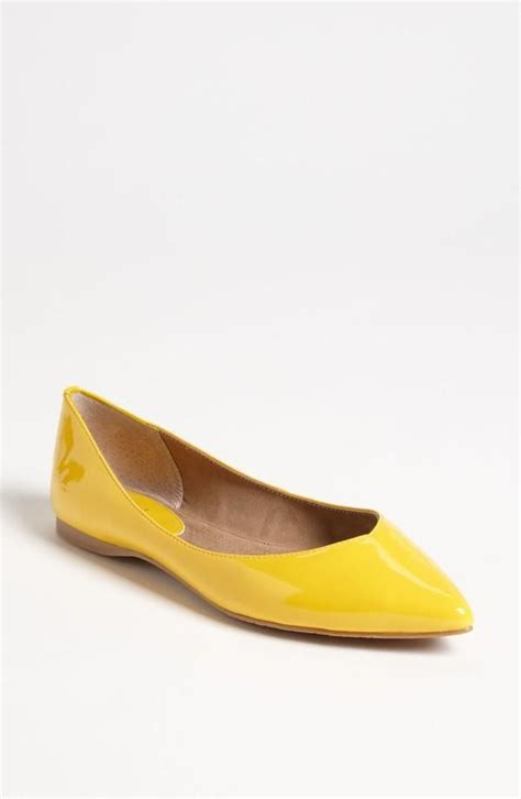 flat yellow shoes bright yellow pointed toe flat shoes