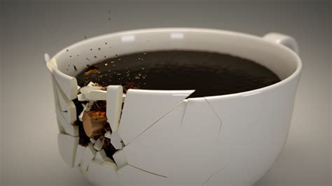 Porcelain Coffee Mugs shattering a coffee cup part 05 compositing in blender