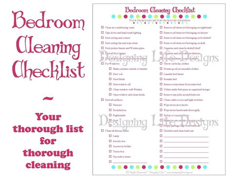 Bedroom Cleaning Checklist Template Bedroom Cleaning Checklist Pdf Printable Household