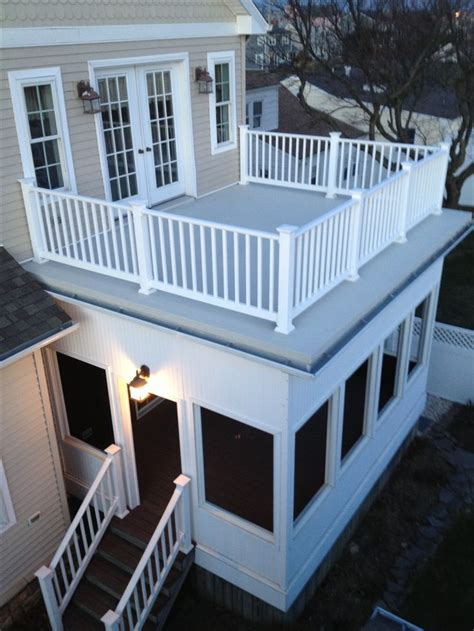 Flat Roof Deck Flat Roof With Railings And A Screened In Porch Can