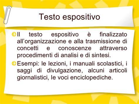 il testo espositivo linguistica testuale