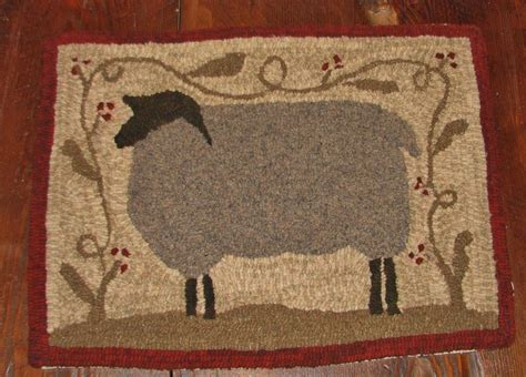 primitive rug hooking primitive hooked rug pattern on monks quot farm friends series sheep quot ebay