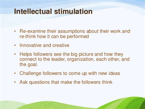 Intellectual Stimulation For Higher Education Mba by Transformational Leadership Ppt 2