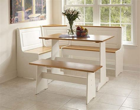 corner nook set in white natural finish contemporary dining sets by shopladder