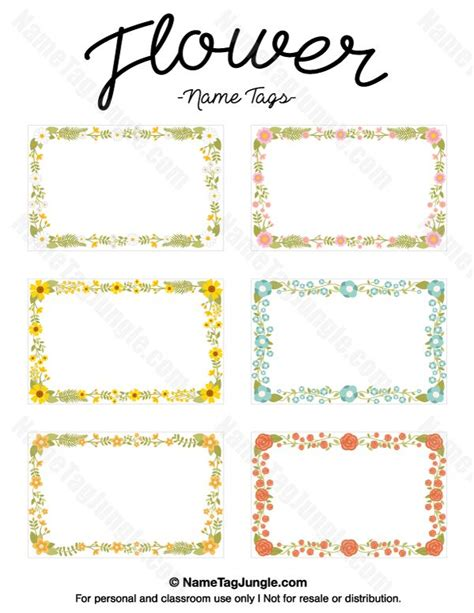name the template free printable flower name tags the flowers include roses