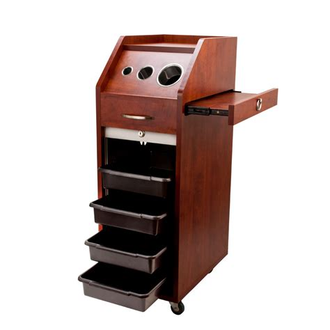 Rolling Cart With Locking Drawers Wood Styling Station Locking Trolley Salon Equipment Cart