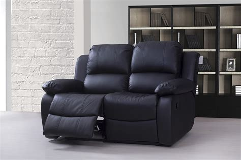 black 2 seater recliner sofa valencia 2 seater bonded leather recliner sofa black ebay