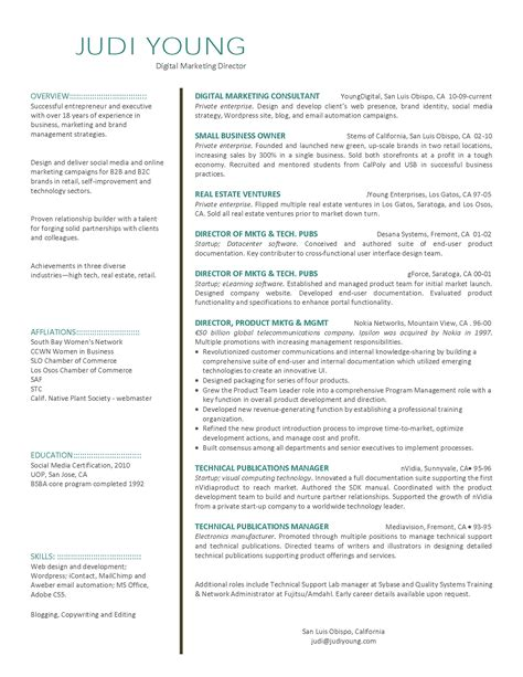 resume template marketing digital marketing resume fotolip rich image and