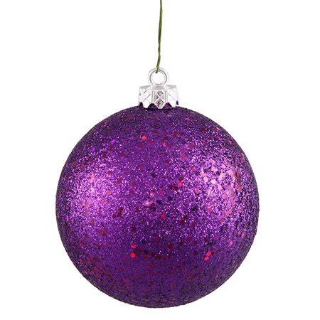 winterland inc glitter ball ornaments purple holographic glitter shatterproof ornament 4 quot 100mm walmart