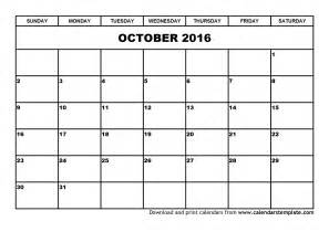2016 Calendar Template by October 2016 Calendar Template