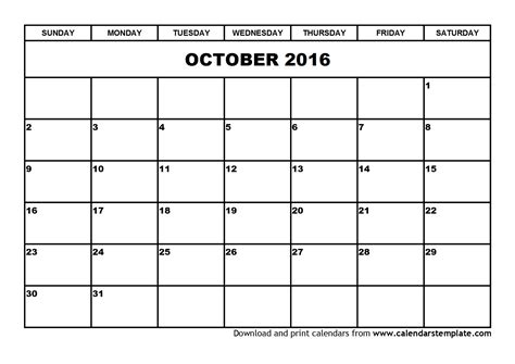 Calendar Templates Free 2016 October 2016 Calendar Template