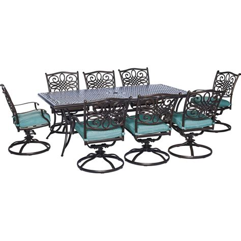 8 Chair Patio Set Hanover Traditions 9 Outdoor Rectangular Patio Dining Set And 8 Swivel Dining Chairs With