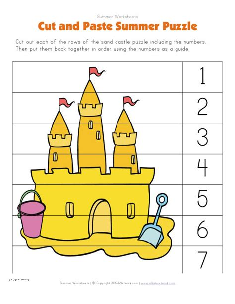summer cut and paste worksheets puzzle worksheets for preschoolers puzzles simple