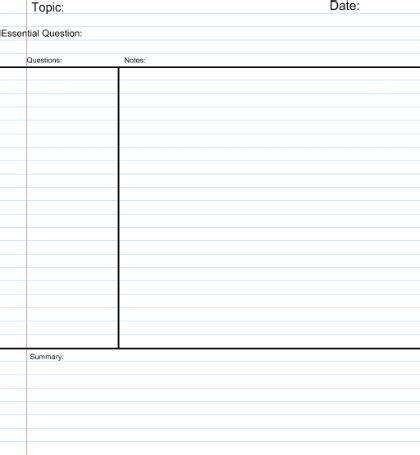 note taking templates for highschool students smart exchange usa cornell notes template